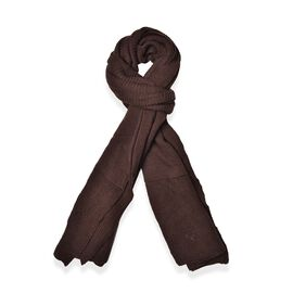 Dark Chocolate Colour Pull Through Scarf (Size 150x60 Cm)Poncho