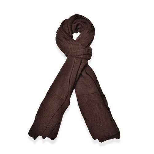 Dark Chocolate Colour Pull Through Scarf (Size 150x60 Cm)Poncho