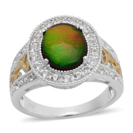 Canadian Ammolite (Ovl 2.25 Ct), White Topaz Ring in Yellow Gold Overlay and Sterling Silver 2.630 Ct.