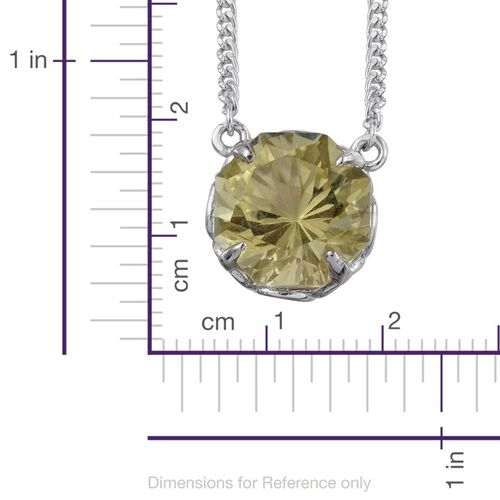 Natural Ouro Verde Quartz (Octillion Cut) Solitaire Necklace (Size 18) in Platinum Overlay Sterling Silver 9.000 Ct.