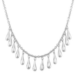 LucyQ Multi Drip Necklace (Size 20) in Rhodium Plated Sterling Silver 13.50 Gms.