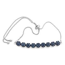 Blue Diamond (Rnd) Adjustable Bracelet (Size 6.5 to 8.5) in Platinum Overlay Sterling Silver 0.500 Ct.
