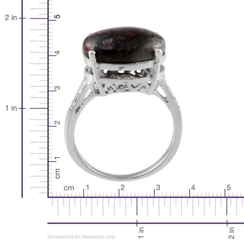 Natural Russian Eudialyte (Ovl 6.00 Ct), Diamond Ring in Platinum Overlay Sterling Silver 6.020 Ct.