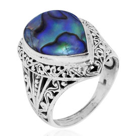 Royal Bali Collection Abalone Shell (Pear) Ring in Sterling Silver 12.000 Ct.