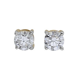 ILIANA 18K Yellow Gold 0.50 Carat Diamond Solitaire Earring IGI Certified SI G-H with Screw Back.