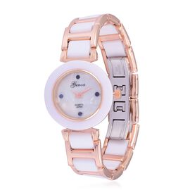 Blue Sapphire studded GENOA White Ceramic Japanese Movement MOP Dial with Water Resistant Watch in Rose Gold Tone with Stainless Steel Back