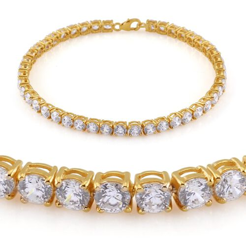 Amits Special Deal - J Francis - 14K Gold Overlay Sterling Silver (Rnd) Bracelet (Size 7.5) Made with SWAROVSKI ZIRCONIA