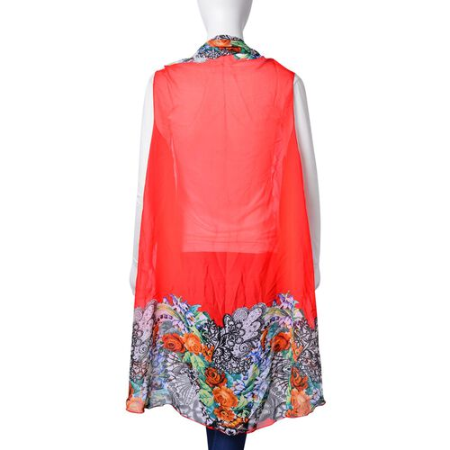 Orange, Green, Black and Multi Colour Floral Pattern Red Colour Poncho (Free Size)