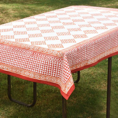 100% Cotton Orange and White Colour Hand Block Printed Table Cloth (Size 235x150 Cm)