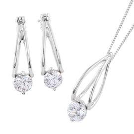 J Francis - Platinum Overlay Sterling Silver (Rnd) Solitaire Pendant With Chain (Size 18) and Earrings (with Clasp) Made with SWAROVSKI ZIRCONIA