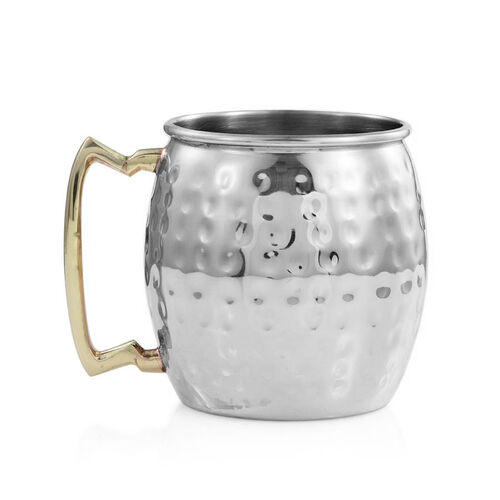 Barrel Shape Hammered Moscow Mule Mug in Stainless Steel (Size 10x7 Cm)