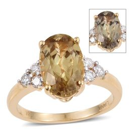 ILIANA 18K Y Gold Natural Turkizite (Ovl 3.65 Ct), Diamond Ring 4.000 Ct.