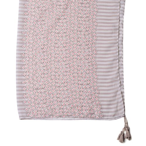 Grey and Pink Colour Floral and Stripes Pattern Scarf with Tassels (Size 180X90 Cm)