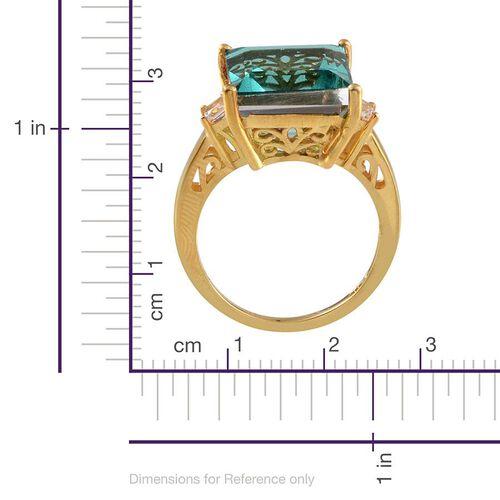 Paraiba Quartz (Sqr 8.00 Ct), White Topaz Ring in 14K Gold Overlay Sterling Silver 8.250 Ct.