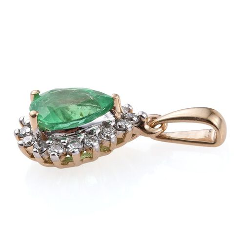 14K Yellow Gold Boyaca Colombian Emerald (Pear 0.85 Ct), Diamond Pendant 1.000 Ct.