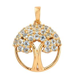 Tree of Life 0.75 ct. Espirito Santo Aquamarine Silver Pendant in Gold Overlay