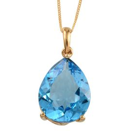 Electric Swiss Blue Topaz (Pear) Pendant With Chain in Yellow Gold Overlay Sterling Silver 17.000 Ct.