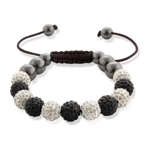Shamballa Friendship Eleven Black & White Austrian Crystal, Hematite Bracelet (Adjustable)  60.002  Ct.
