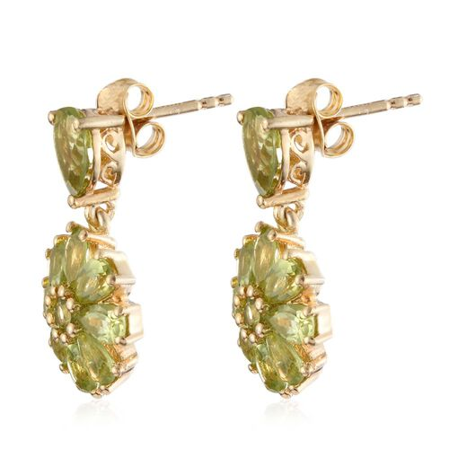 Hebei Peridot (Pear) Earrings (with Push Back) in 14K Gold Overlay Sterling Silver 4.780 Ct.
