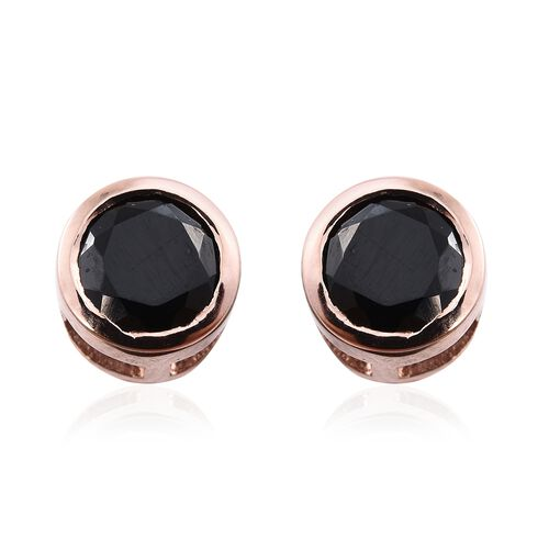 Black Spinel 1.25 Ct Silver Bezel Set Solitaire Stud Earrings in Rose Gold Overlay