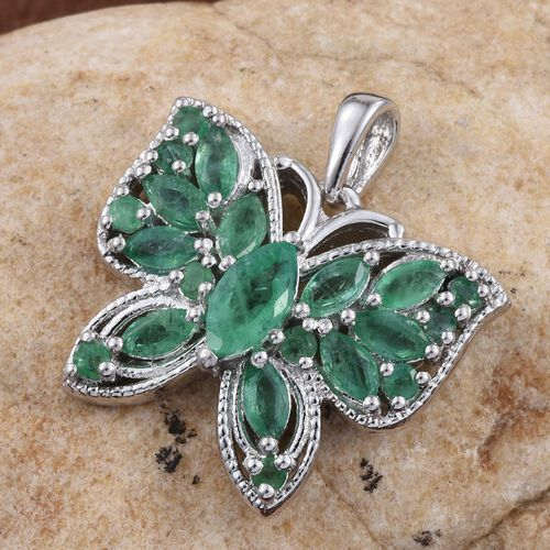 Kagem Zambian Emerald (Mrq 0.50 Ct) Butterfly Pendant in Platinum Overlay Sterling Silver 2.000 Ct.