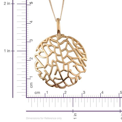 14K Gold Overlay Sterling Silver Sea Fan Coral Pendant With Chain, Silver wt 4.88 Gms.