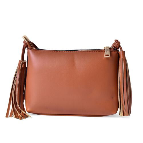 Chocolate Colour Crossbody Bag with Tassels and Shoulder Strap (Size 20x15x7.5 Cm)