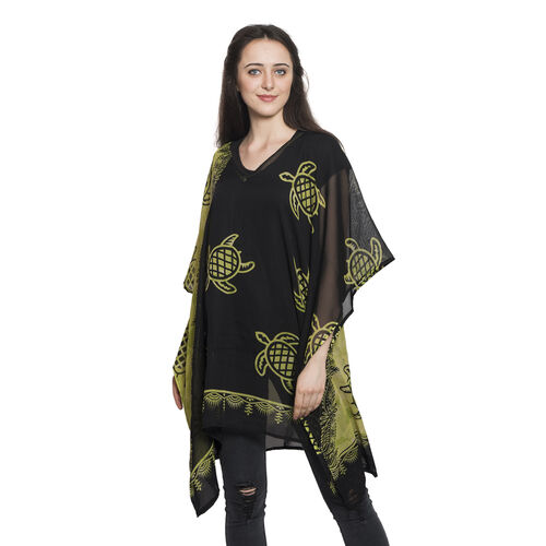 Tortoise Printed Green Glow and Black Bean Colour V-Neck Kaftan (Free Size)