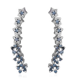 Blue Diamond (Rnd) Earrings in Platinum Overlay Sterling Silver 0.250 Ct.
