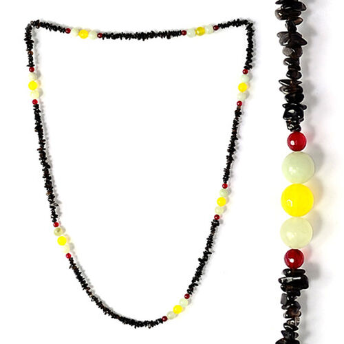Smoky Quartz, Enhanced Agate, Enhanced Yellow Agate, Enhanced Magenta Agate Necklace (Size 36) 250.950 Ct.