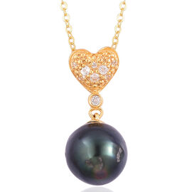 Tahitian Pearl (9-10 mm) and White Topaz Pendant With Chain in Yellow Gold Overlay Sterling Silver