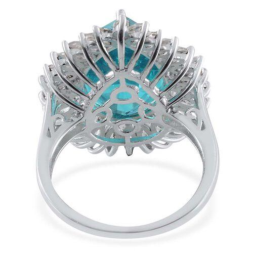 Capri Blue Quartz (Pear 10.25 Ct), White Topaz Ring in Platinum Overlay Sterling Silver 12.750 Ct.