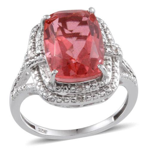 Padparadscha Colour Quartz (Cush 7.75 Ct), Diamond Ring in Platinum Overlay Sterling Silver 7.780 Ct.
