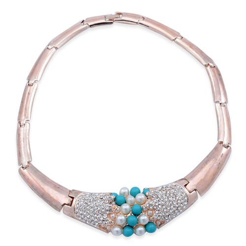 AAA White Austrian Crystal and Simulated Pearl Necklace (Size 18) in Rose Gold Tone