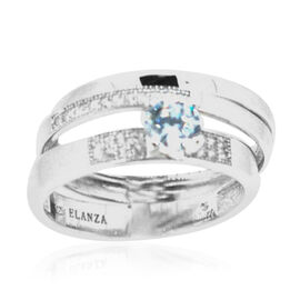 ELANZA AAA Simulated Diamond (Rnd) 3 Ring Set in Rhodium Plated Sterling Silver