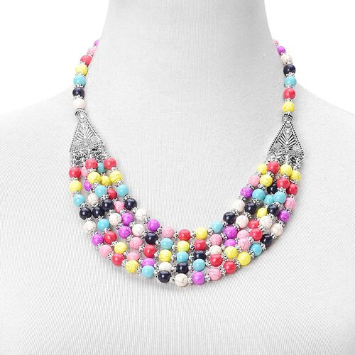 Multi Colour Howlite Multi Strand Necklace (Size 20 with 2 inch Extender) and Bracelet (Size 7.5 with 2 inch Extender) in Silver Tone 740.00 Ct.