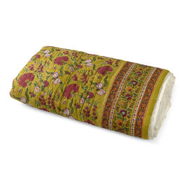 100% Cotton White, Green and Multi Colour Hand Block Floral Printed Quillow (Size 220x140 Cm)