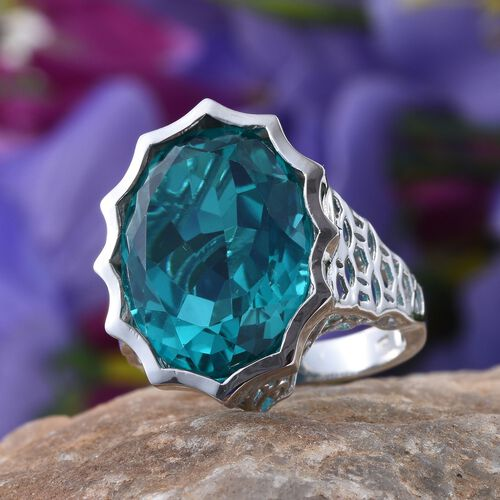 Capri Blue Quartz (Ovl) Ring in Platinum Overlay Sterling Silver 18.750 Ct.