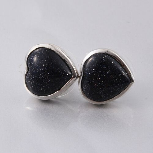 Blue Sandstone (Hrt) Stud Earrings (with Push Back) in Platinum Overlay Sterling Silver 7.000 Ct.