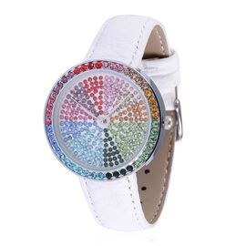 GENOA Japanese Movement Multi Colour Austrian Crystal Studded White Dial Water Resistant Watch in Silver Tone with Stainless Steel Back and White Leather Strap