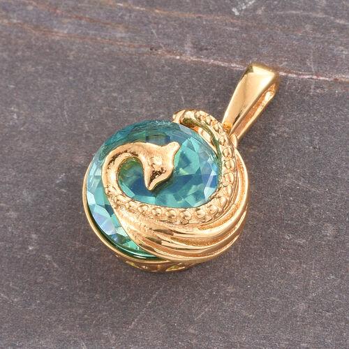 Peacock Quartz (Rnd) Peacock Pendant in 14K Gold Overlay Sterling Silver 3.000 Ct.