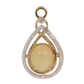 9K Y Gold Ethiopian Welo Opal (Ovl 3.10 Ct), Diamond Pendant 3.500 Ct.