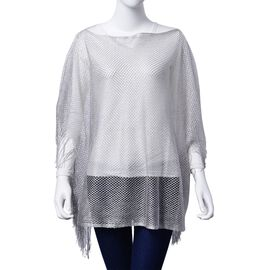 Silver Colour Poncho with Tassels (Size 100x60 Cm)