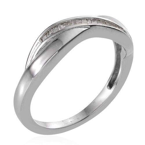 Diamond (Bgt) Ring in Platinum Overlay Sterling Silver