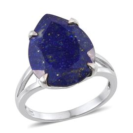 Lapis Lazuli (Pear) Ring in Platinum Overlay Sterling Silver 12.250 Ct.