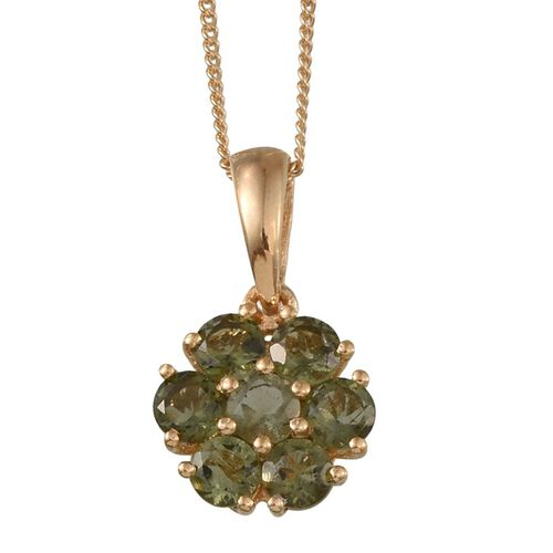Bohemian Moldavite (Rnd) 7 Stone Floral Pendant With Chain in 14K Gold Overlay Sterling Silver 1.000 Ct.