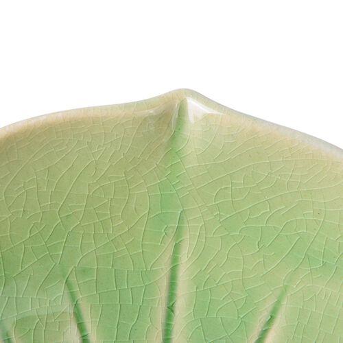 Green Colour Twin Birds Standing Flower Shape Ceramic Fruit Plate (Size 25.5x8 Cm)