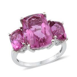 Kunzite Colour Quartz (Cush 7.25 Ct) 3 Stone Ring in Platinum Overlay Sterling Silver 10.500 Ct.