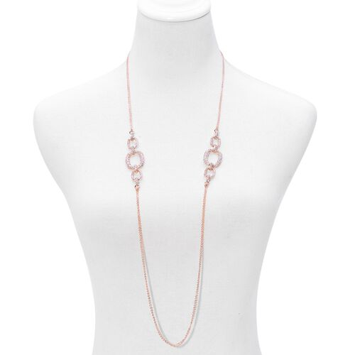 White Austrian Crystal Necklace (Size 38), Bracelet (Size 7.50) and Earrings in Rose Gold Tone