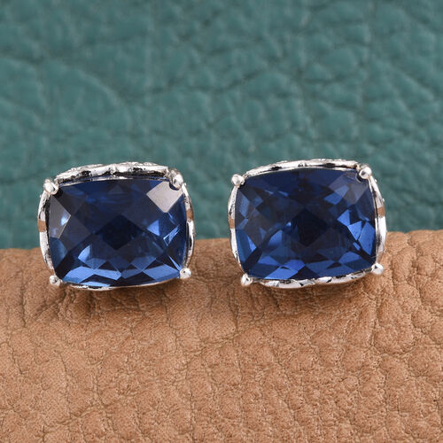 Checkerboard Cut Ceylon Colour Quartz (Cush) Stud Earrings (with Push Back) in Platinum Overlay Sterling Silver 6.000 Ct.